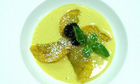 Pumpkin veloute with floating island and baeri cavier