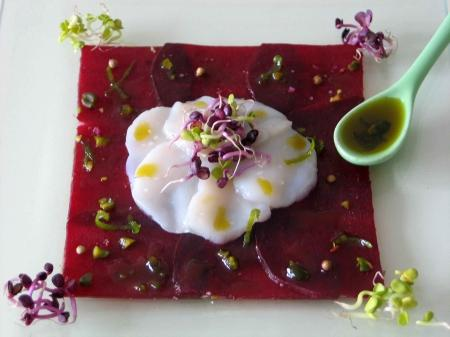 Carpaccio de betteraves et St Jacques
