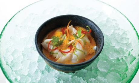 Thai spiced Lemongrass Gazpacho with Barramundi Ceviche Gazpacho